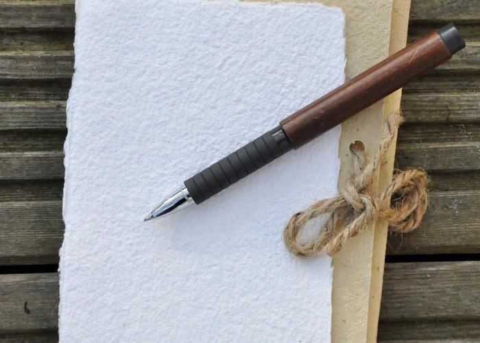 boligrafo tipo madera encima de una hoja para escribir